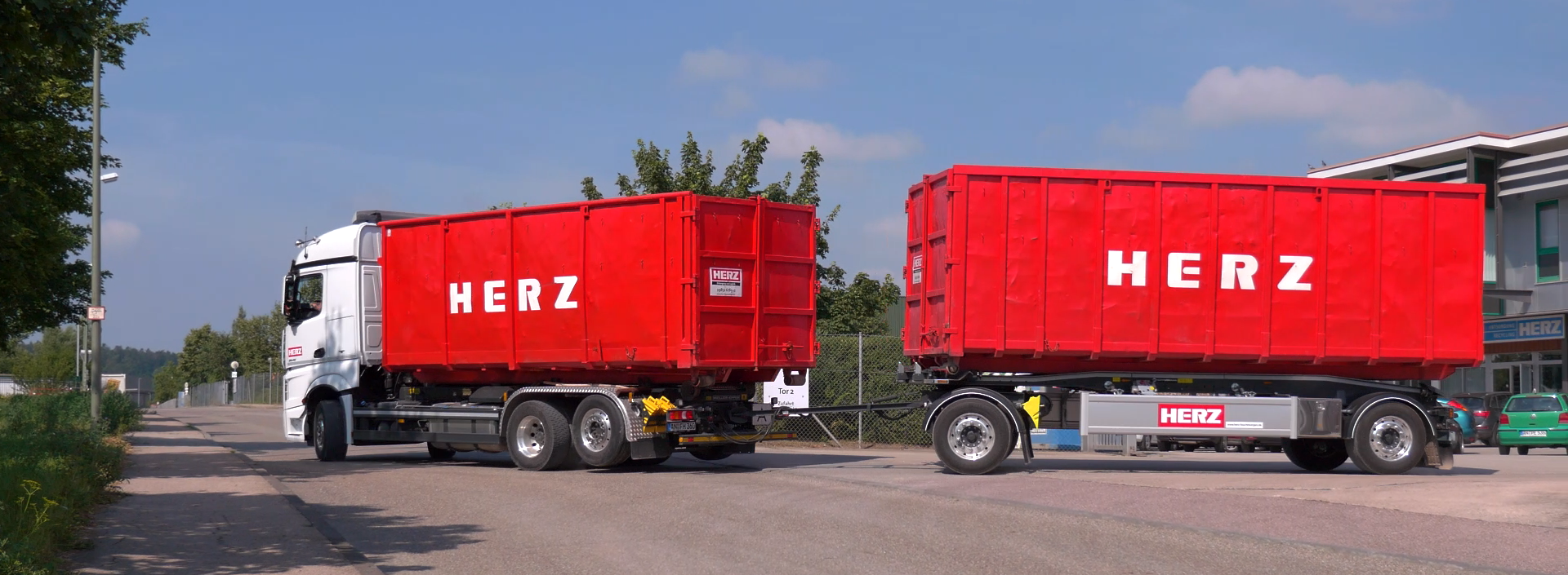 Containerfahrzeug Abrollcontainer Container Abroller Absetzcontainer Mulde Abroller Transport